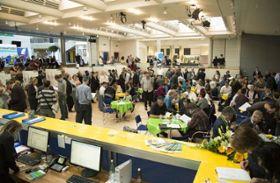 Blick in das Wahlzentrum
