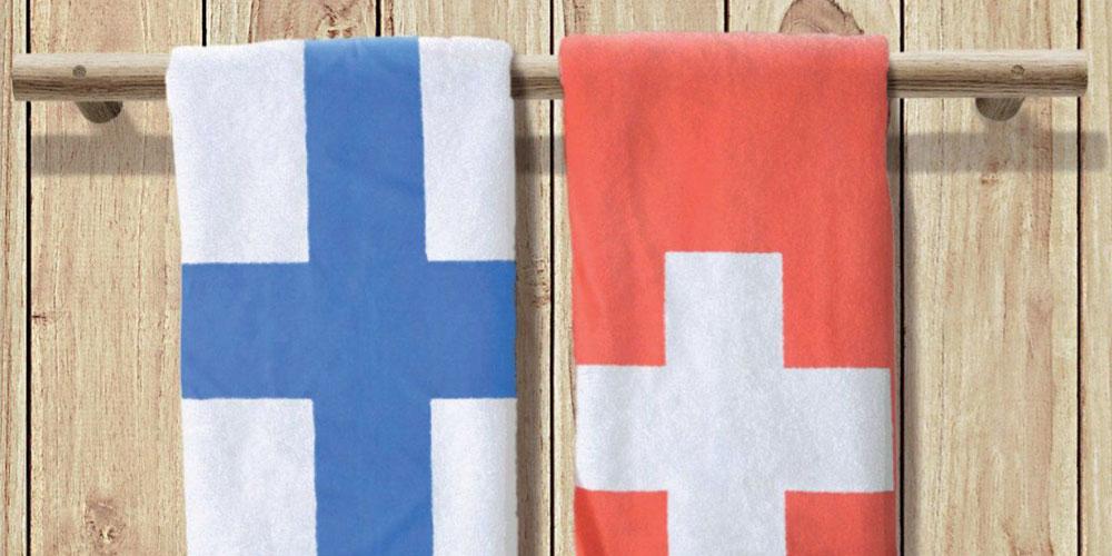 Badetücher Finnland udn Schweiz