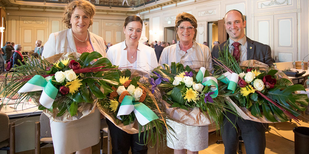 Die neu gewählten Präsidien und Vizepräsidien des Grossen Rates und des Regierungsrates (v.l.n.r.): Cornelia Komposch, Carmen Haag, Heidi Grau-Lanz und Turi Schallenberg.