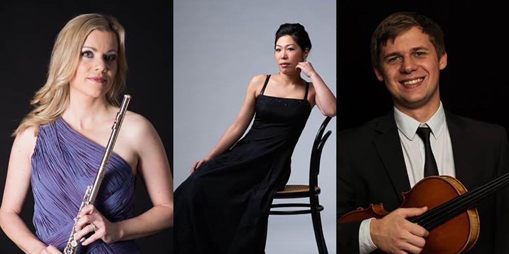Das Trio mit der Flötistin Claudia von Wartburg, der Pianistin Hiromi Ikei und Anton Vilkhov an der Viola präsentieren Werke aus 300 Jahre Musikgeschichte.