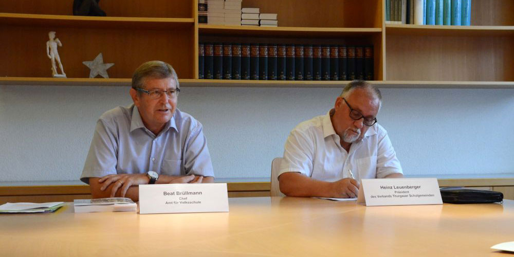 Beat Brüllmann, Chef Amt für Volksschule, und Heinz Leuenberger, Präsident des Verbands der Thurgauer Schulgemeinden