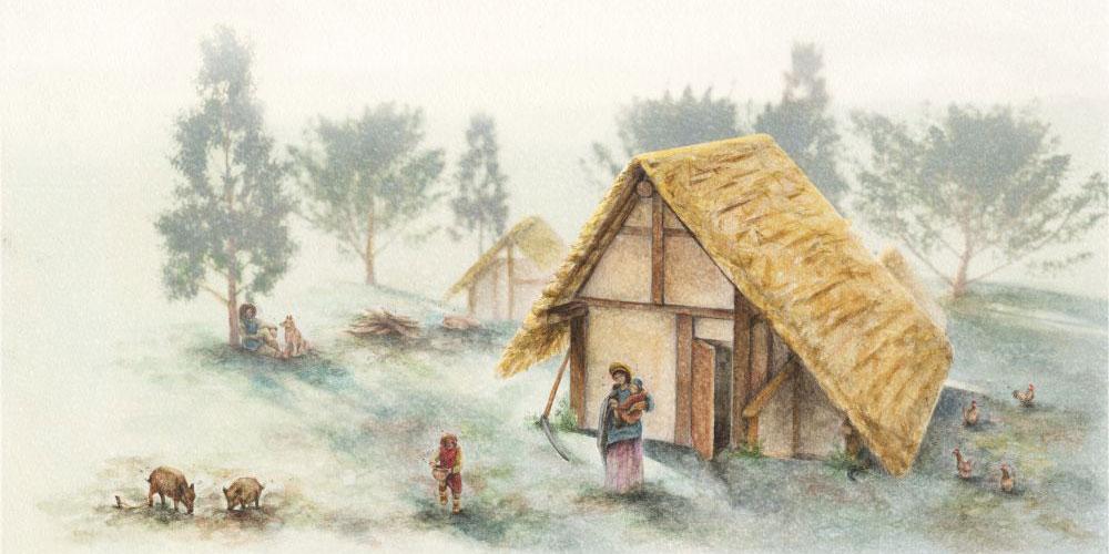 Lebensbild mit Grubenhäusern in «Askinza». Zeichnung Livia Enderli.