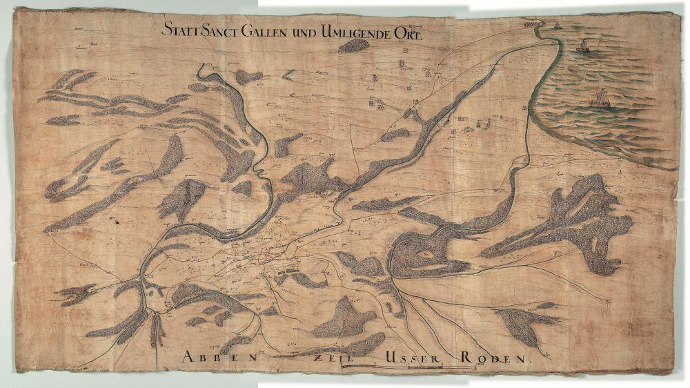 Die Karte aus dem 17. Jahrhundert zeigt die Stadt St. Gallen und umliegende Orte.