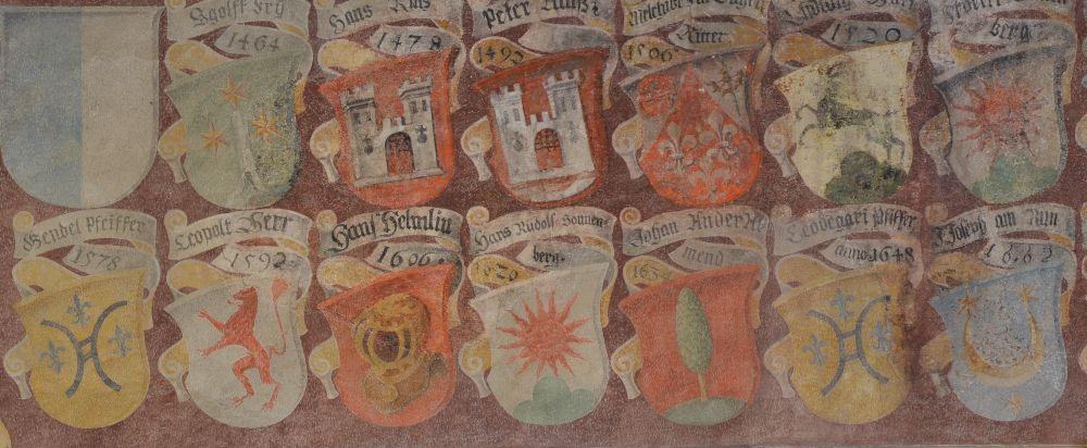 Zeichen der Macht: der Wappenfries der Landvögte im Schloss Frauenfeld.