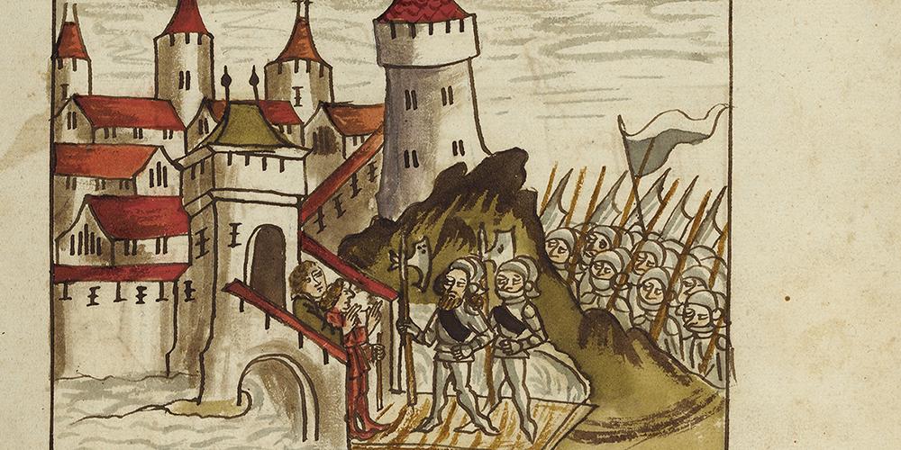 Darstellung von Frauenfeld zur Zeit der Eroberung durch die Eidgenossen 1460.