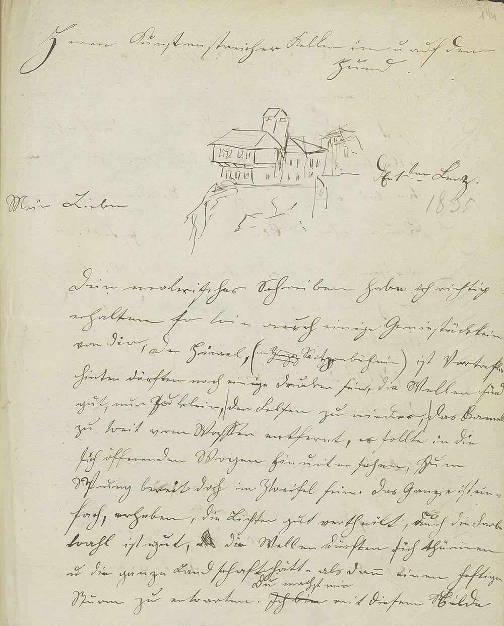 In einem Brief von Johann Müller an Gottfried Keller ersetzt eine Skizze vom Schloss das Wort «Frauenfeld» in der Datumszeile.
